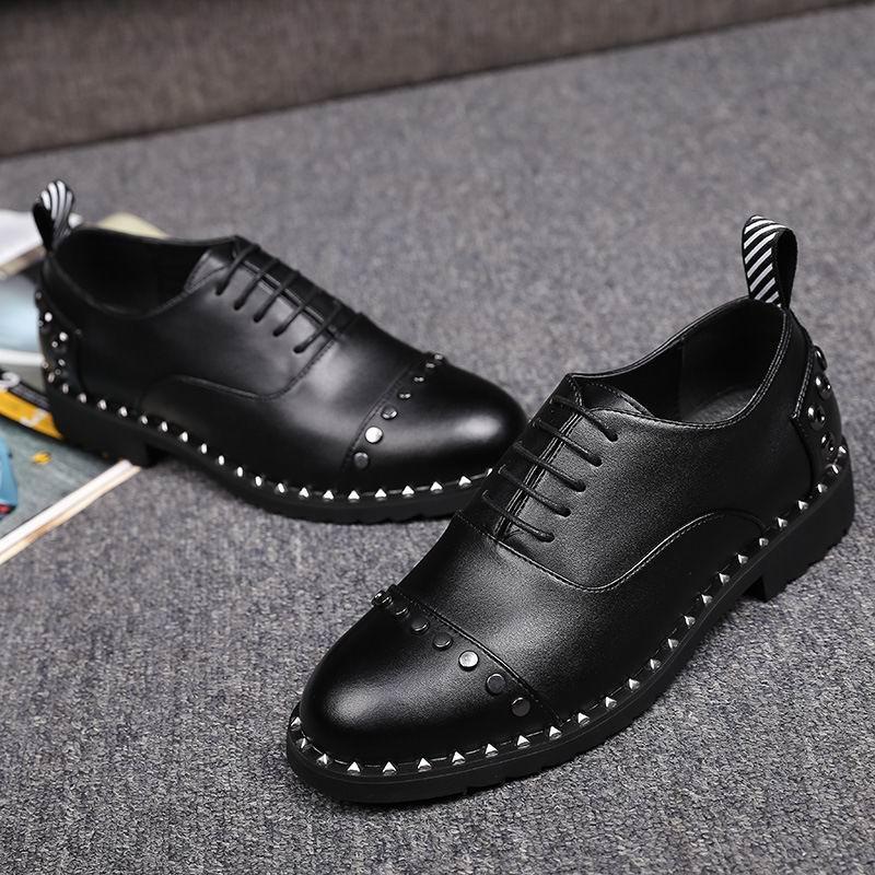 Sapatos Grife Lazer Do Frente A 44 Vestido Pé Preto Homens Rebites Da Zapatos Tendências Tamanho Dedo Para Errfc Redondo Moda De Homem Rendas Até 38 FYPnxwOz5q