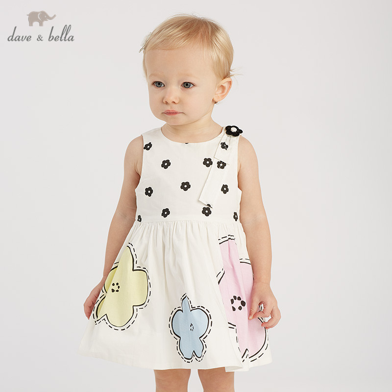 DB10216 dave bella summer baby girl s princess cute flowers dress children fashion party dress kids