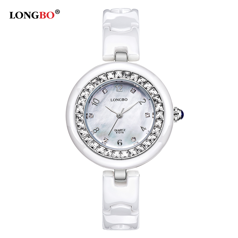 New Luxury Top Brand LONGBO Women Ceramic Watch Fashion Watches Lady Quartz crystal shell Wrist watches Ladies girl student gift top quality women s exquisite commercial watches quartz clock white black ceramic watch lady new longbo brand gift wrist watches