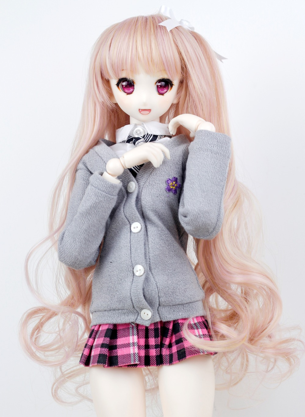 Bjd Doll Wig 1//3 8-9 SD Pullip Bylthe Dollfie Long Pink Toy Head Hair 22-24cm