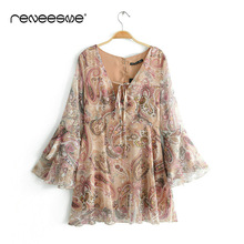 fashion print new women dress flare sleeve deep v neck lace up zipper chic pleated ladies dresses mini vintage open back dress