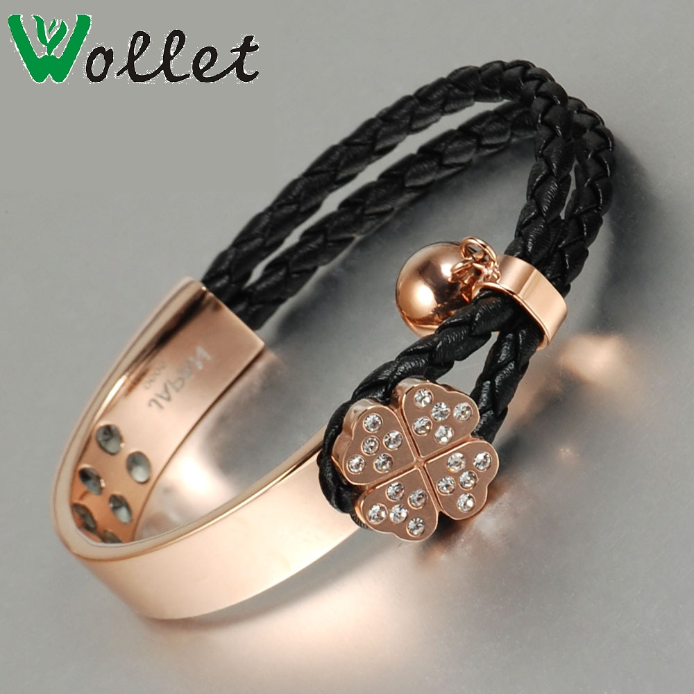 Wollet Jewelry Stainless Steel Bracelets Bangle for Women CZ Stone Rose Gold Clover Flower Negative Ion Germanium Black Wire