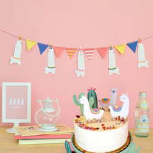Alpaca Banner Llama Theme Kids Birthday Party Decorations Bunting Banner Happy Birthday Banner Party Flags Decor Event Supplies
