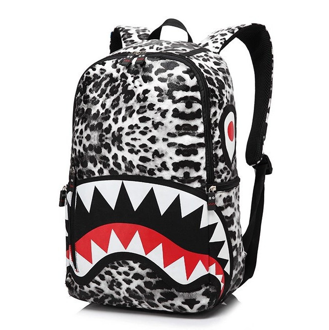 Fashion Leather Racksack Satchel Bag Leopard Women Shark