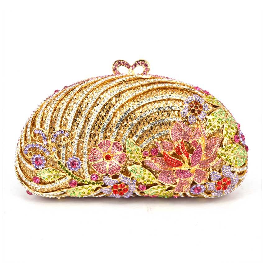Handbags Women Famous Lotus Rhinestone Clutch Purses Wholesale Bags For Women gold evening bag fawziya bag silver crystal clutch evening bags for womens purses and handbags