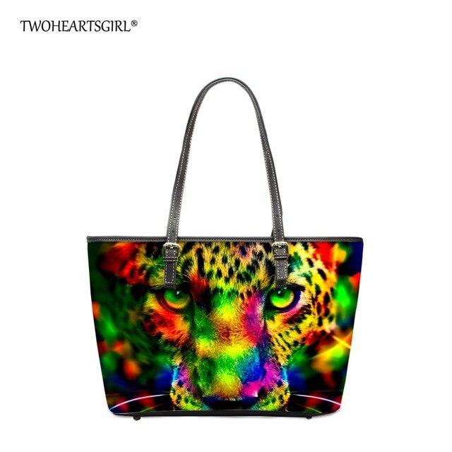 Twohearts Funky Women Top Handbag Bags Trend Fashion Printing Neon Leopard Shoulder Bag For Female