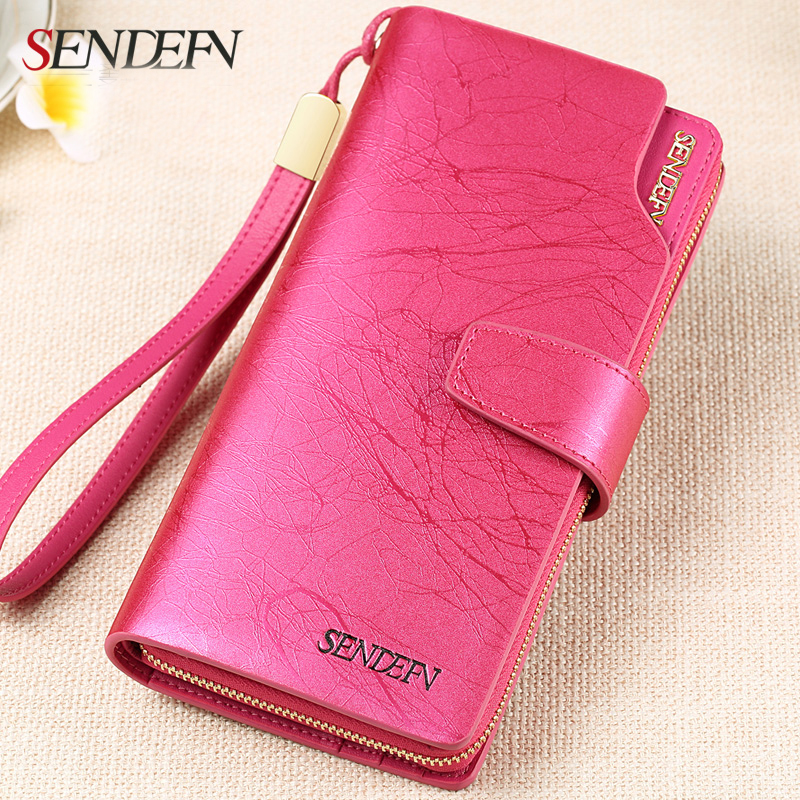 592a930a07f2 Sendefn Quality Leather Wallet Women Designer Famous Brand Fashion Lady  Purse Clutch Vintage Long Wallet Female Card Holder-in Wallets from Luggage    Bags