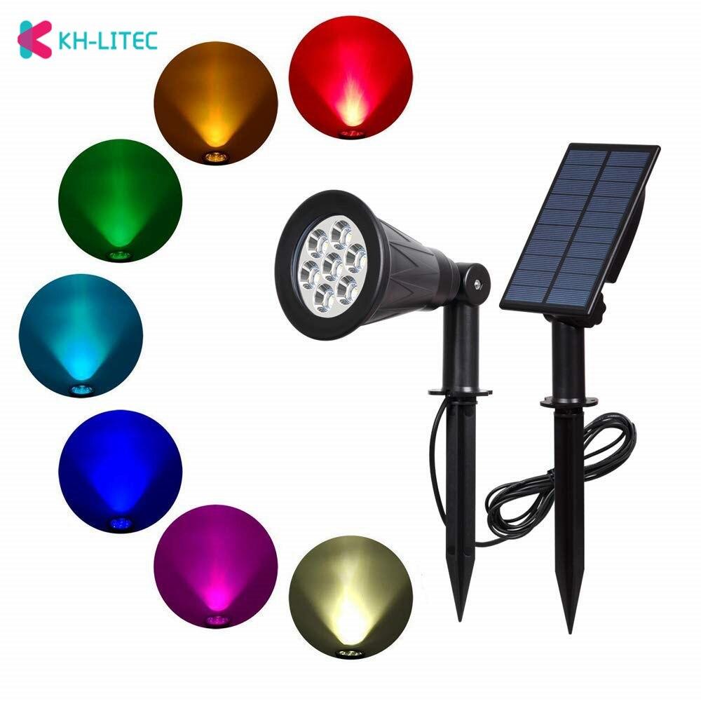 Khlitec 7 Led Solar Spotlight With Solar Panel Auto Color