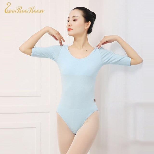 Gymnastics Leotard Sky Blue Half Sleeve Basic Ballet Leotards For Women Ballerina Clothes Girls Professional Dancing Costumes
