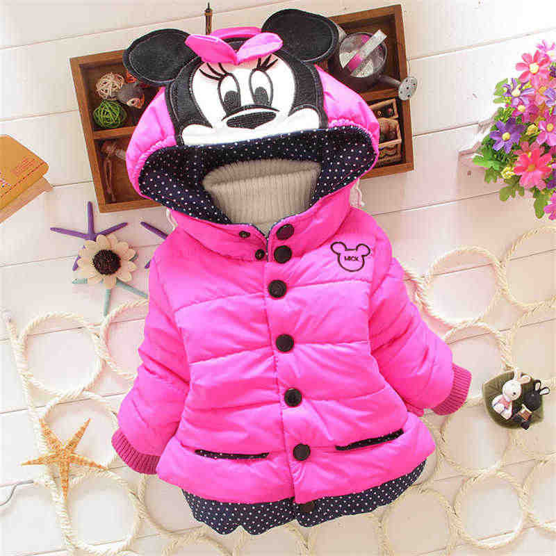 590c8906a Baby Jacket For Girls 2019 Autumn Winter Girls Jackets Minnie Cartoon Coat  Kids Clothes Warm Outerwear