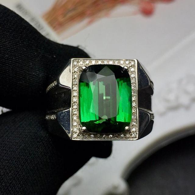 Fine Jewelry Real Pure 18 K Gold Jewelry 100% Natural Green Tourmaline Gemstones 6.05ct Diamonds Male's Wedding Fine Man's Rings