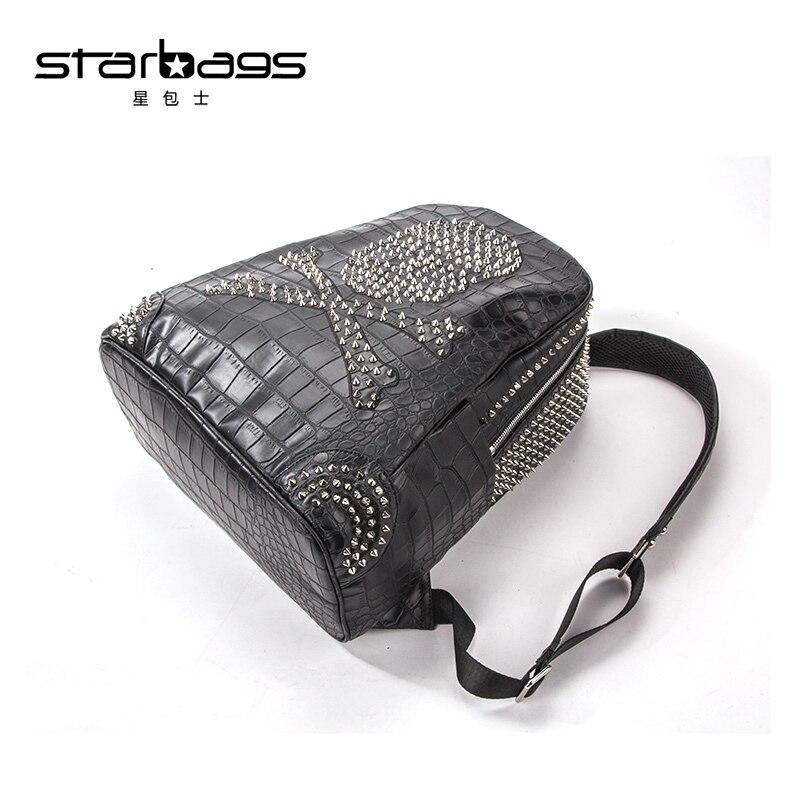 Europäischen Doppel Populären Tasche Krokodil Muster Kopf Koreanische Version Amerikanischen Logo Niet Schulter Männlichen Starbags Knochen Pp Black Schädel Und rv7qrwExFf