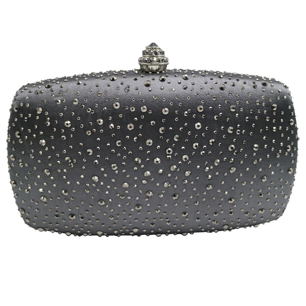 Dark Gray Rhinestones Crystal Clutch Evening Bags for Womens Party Cocktail Evening Prom цена 2017