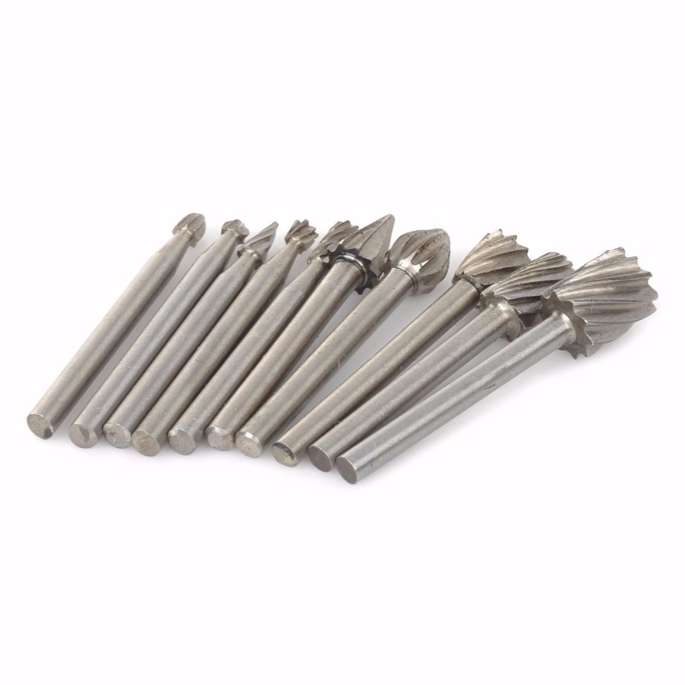 цена на 10pc HSS Routing Router Grinding Bits Burr File Set Milling Cutter 1/8 inch Shank For Dremel Engraving Wood Rotary Tool
