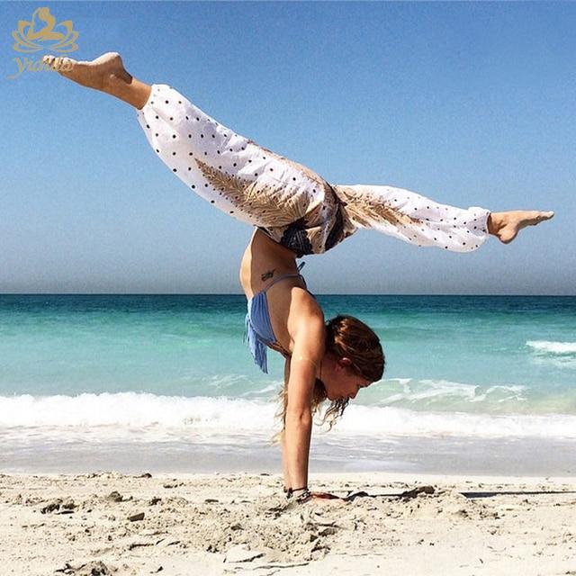 2017 Femmes Yoga Sarouel Aladdin Danse Lâche Pantalon Coloré Taille  Élastique Yoga pantalon une taille Nouveau