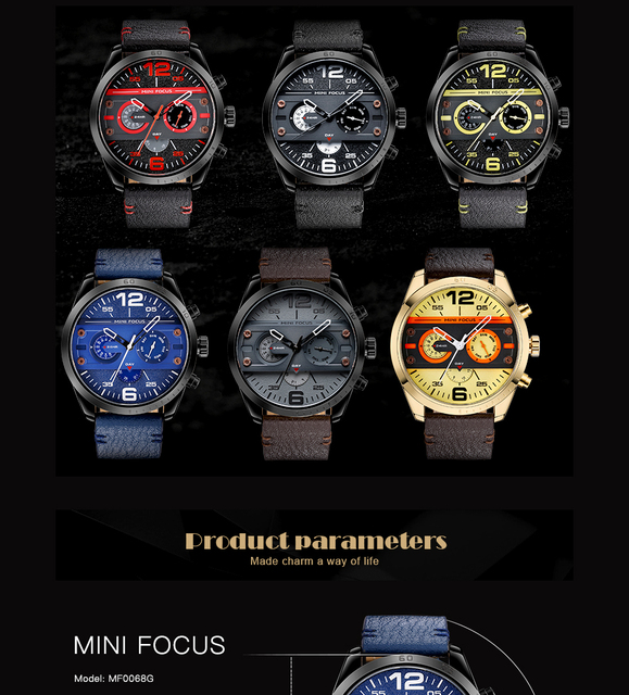 New Chronograph Men's Casual Sport Quartz Waterproof Watch For Men 5