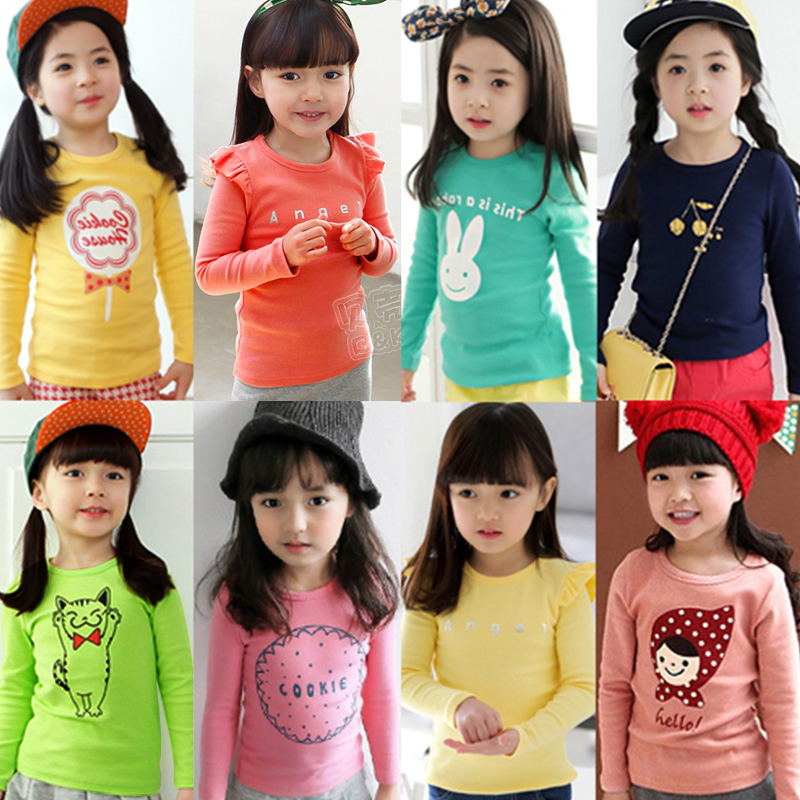 2018 Spring Autumn For 2-8 9 10 Years Children Tops Tees Cotton Cartoon Print Basic Little Baby Kids Girls Long Sleeve T Shirts(China)