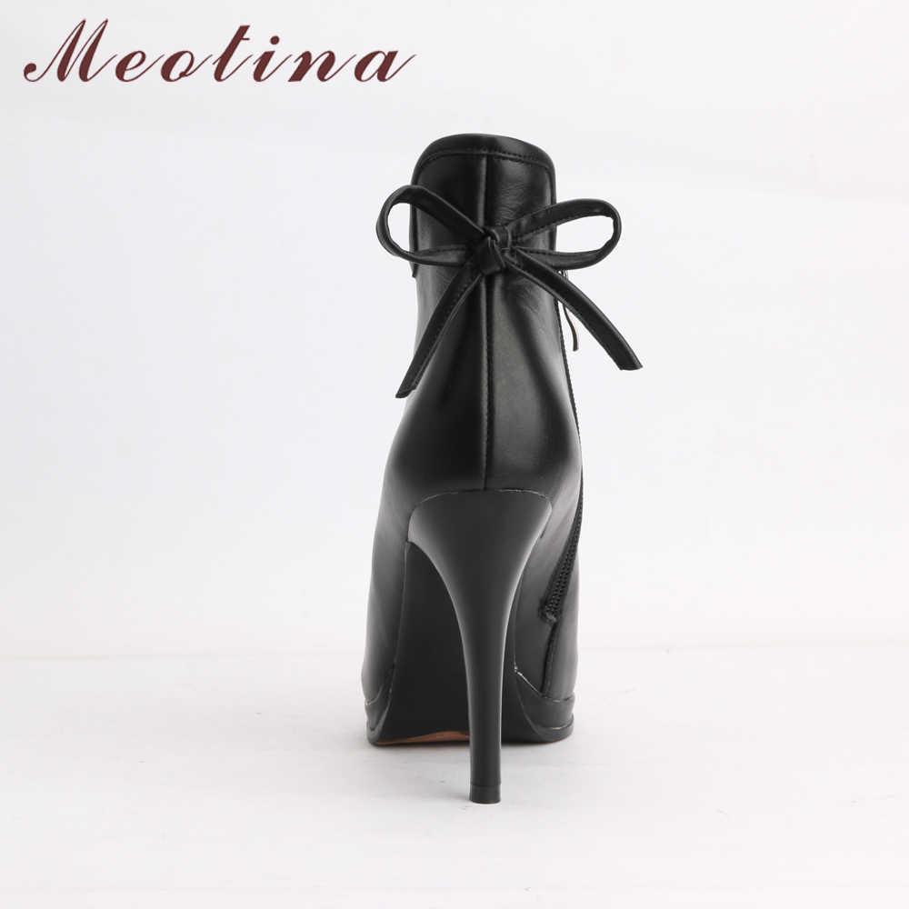 Meotina Da Thật Chính Hãng Da Giày Nữ Giày Nữ Đế Cao Gót Giày Nơ Tự Nhiên Thật Ủng Da Cá Nữ Sexy Giày 40