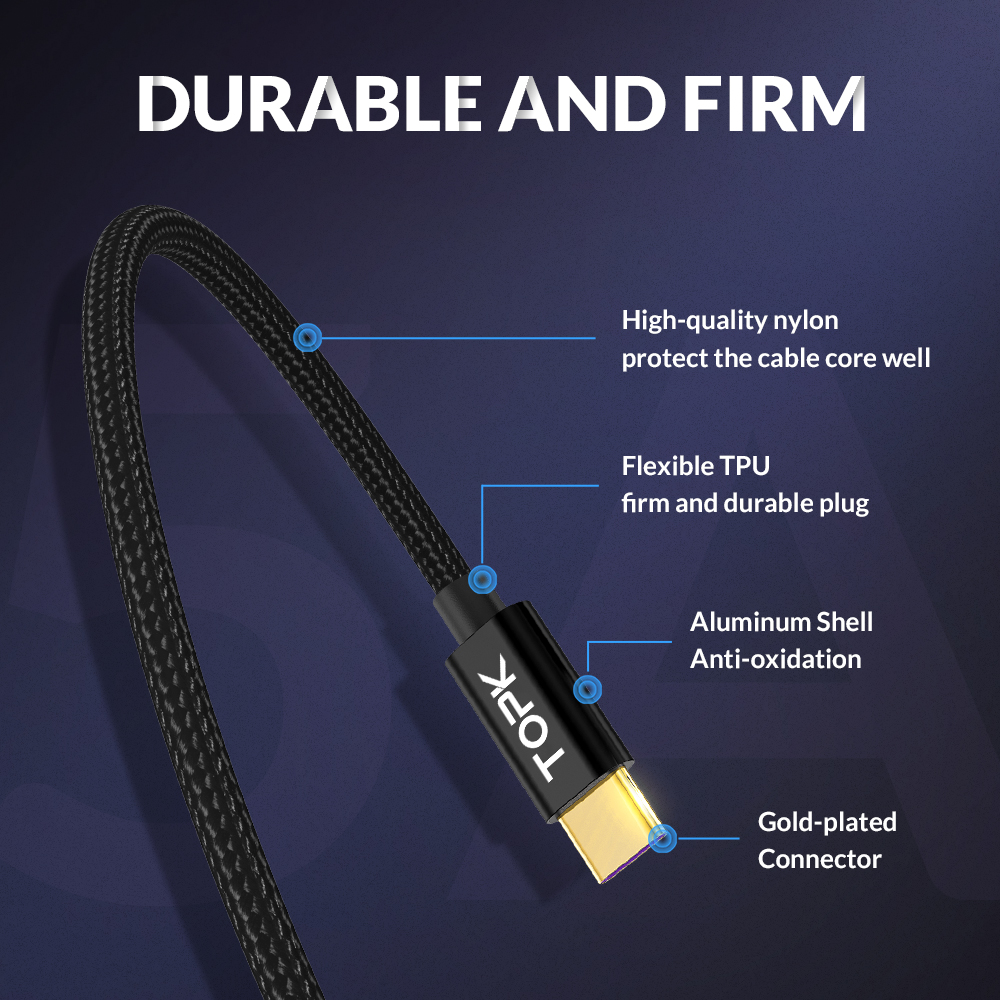 TOPK 5A USB C Cable Quick Charge USB Type C Cable for Huawei Mate 20 Pro Honor 10 9 Fast Charger Cable for Samsung Note 9 S9 S8 in Mobile Phone Cables from Cellphones Telecommunications