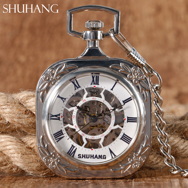 SHUHANG Pocket Watch Mechanical Classic Silver Open Face Unique Square FOB Chain Steampunk Hand Winding Watches Special Gifts open face pocket watch pendant trendy hand winding vintage wind up fashion steampunk chain elegant mechanical pocket fob watches