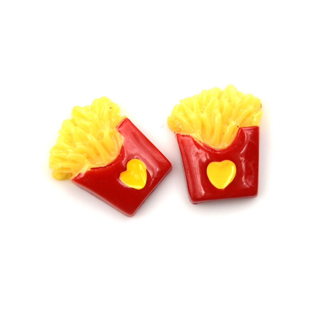 2pcs Colorful French Fries Resin Decoration Crafts Kawaii Bead Flatback Cabochon Scrapbook Diy Accessories Buttons