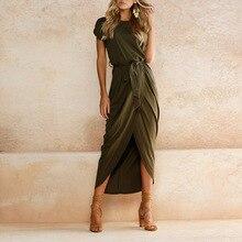 цена на Charmed Maxi Bandage dress 2018 11 Color Solid O neck Short Sleeve Front Vent Irregular Dress vestidos Plus size