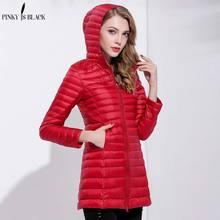 PinkyIsblack Down Parka 2019 New Winter Down Jacket Women Long White Duck Down Jacket Outwear Ultralight Hooded Thin Hat Coat