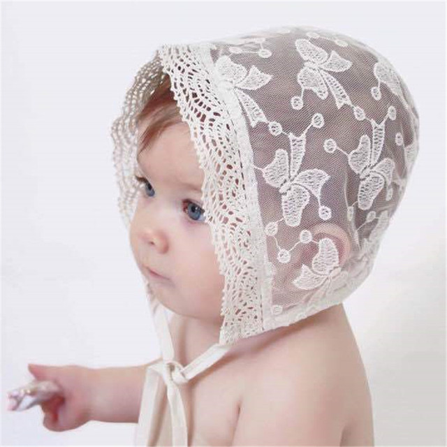 Princess Lace Baby Bonnet Enfant Lace Up Baby Girl Summer Hat Fotografia  White Photography Props for newborn acd6ce761a9
