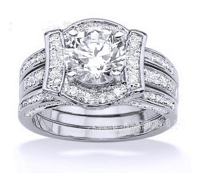 Victoria Wieck antigo clássico topázio simulado Diamond 14KT ouro branco GF casamento da faixa Set anel Sz 5 - 11 frete grátis