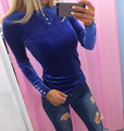 New 2017 Spring Women T-shirt High-quality Korean Velvet button Tops Bodycon Long Sleeve Sexy Slim Red Pink Party Tops DCS-16421
