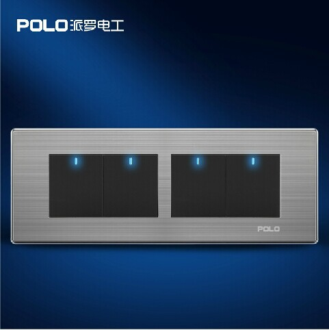 Free Shipping, POLO Luxury Wall Light Switch Panel, 4 Gang 1 Way Switch, Push Button LED Switch, 10A, 110~250V, 220V free shipping wallpad luxury wall switch panel 4 gang 2 way switch plug socket 197 72mm 10a 110 250v