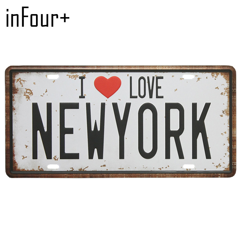 [inFour+] I Love NEWYORK Plate Metal Plate Car Number Tin Sign Bar Pub Cafe Home Decor Metal Sign Garage Painting Plaques Signs