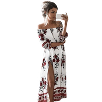 Women Vintage Floral Printed 2017 Spring Summer Boho Beach Dresses Off Shoulder Half Sleeve Split Dress