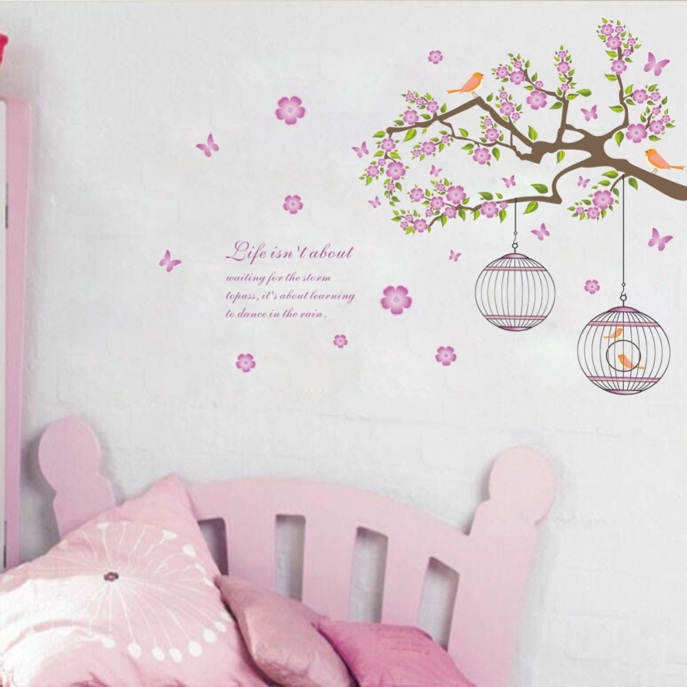 & 3D bird cage Flower butterfly tree branches removable wall stickers PVC waterproof living room home office bedroom home decor