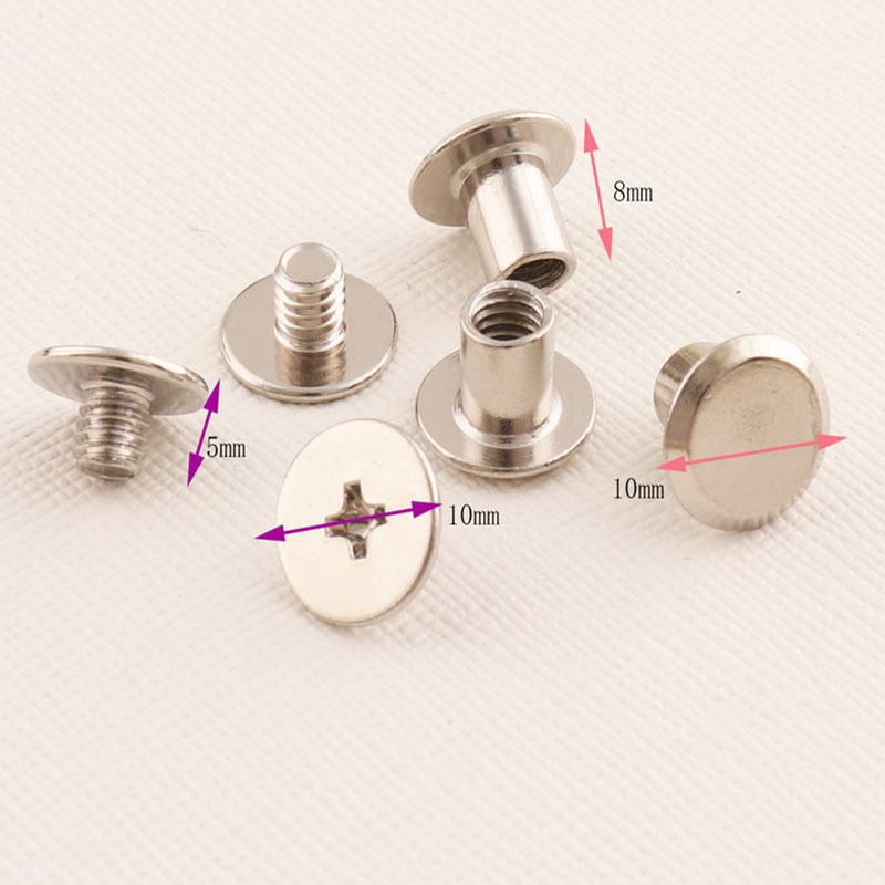 100pcs Metal Round Rivets Head Button Belt Screws Rivets 10mm