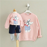 Family Clothing Outfits Spring and Autumn Clothing for Parents and Children Cartoon Puppies Cotton Mother and Daughter Clothes