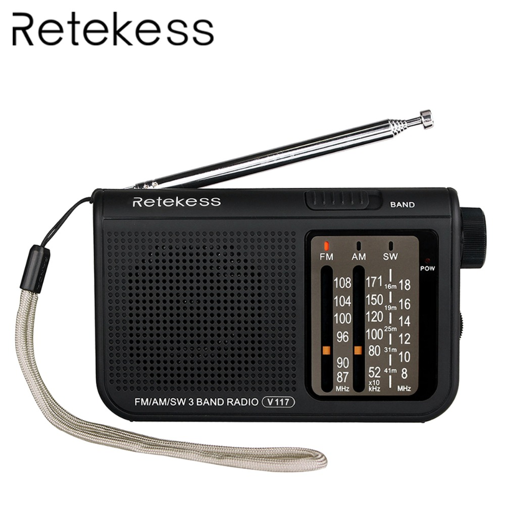 Retekess V117 3 Band FM / AM / SW Radio Battery Powered Emergency Radio Receiver Portable Radio Station F9207A