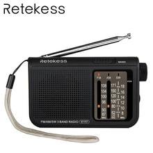 Retekess V117 3 Band FM / AM / SW Radio Battery Powered Emergency Radio Receiver Portable Radio Station F9207A
