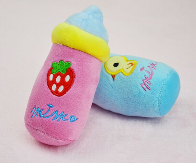 Kawaii squeaky peluche cane giocattolo bottiglia di latte a forma di chew squeaker squeaky toy dog Pet Puppy Peluche del suono dog toy carino animali cani giocattoli