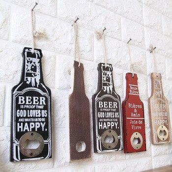 Botella multifunción abridor de botella de vino forma de madera Retro cerveza...