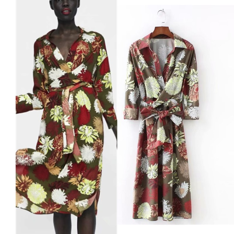 Autumn Women Floral Printed Shirt Dress Female Turn-down Collar Long Sleeve With Belt Sexy Side Split Midi Dress Tunic vestido