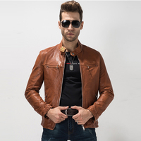 2017 Casual Genuine Leather Jacket Men S Sheep Leather Coat Stand Collar Short Outerwear Motorcycle Leather