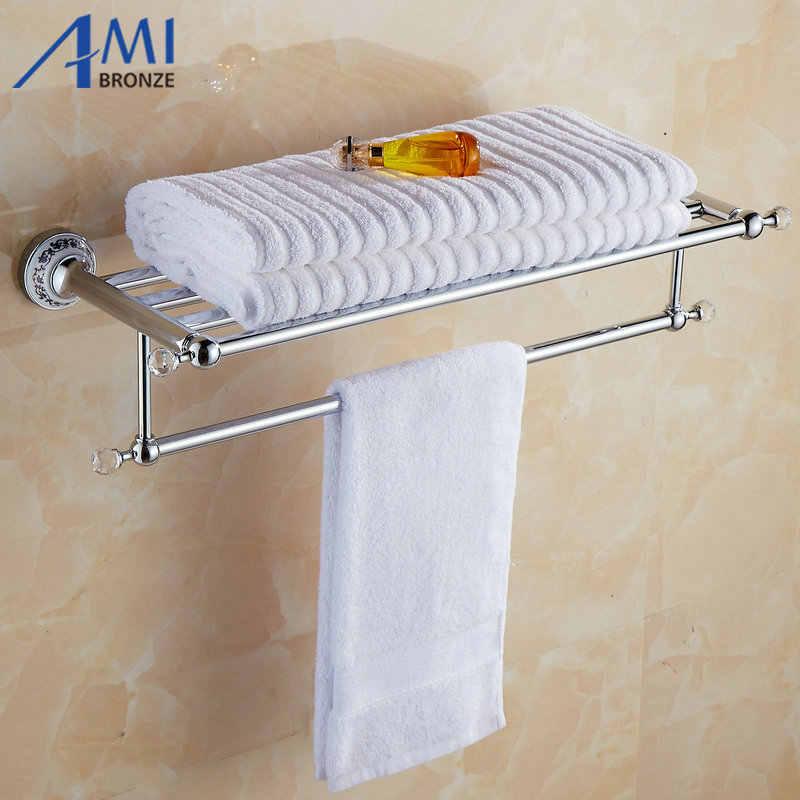 81CCP Serie Chrom Poliert Kristall & Porzellan Bad zubehör Bad Hardware Set Handtuch Regal Handtuch Bar Papier Halter Haken