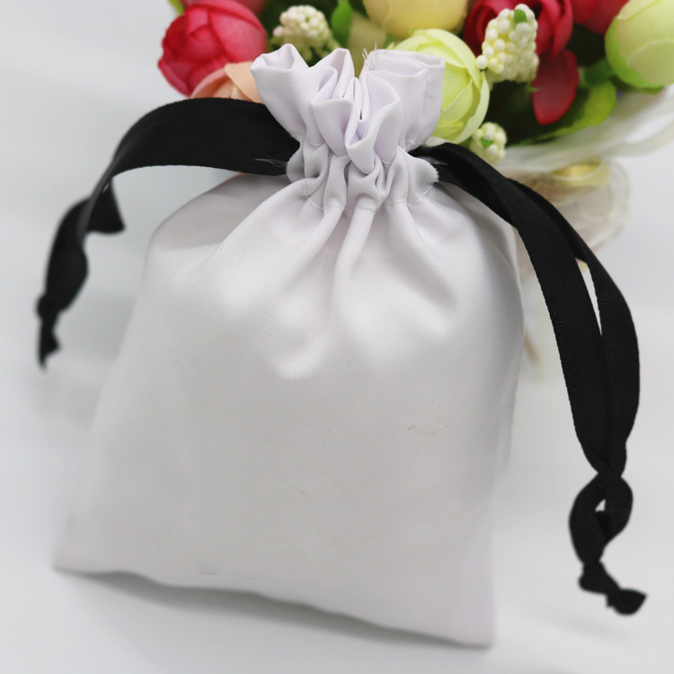 Satin Gift Bag Jewelry Packaging Drawstring Custom Pouch Cosmetic Party Product Bead Candy Luxury Smooth Silk Bags Print Logo