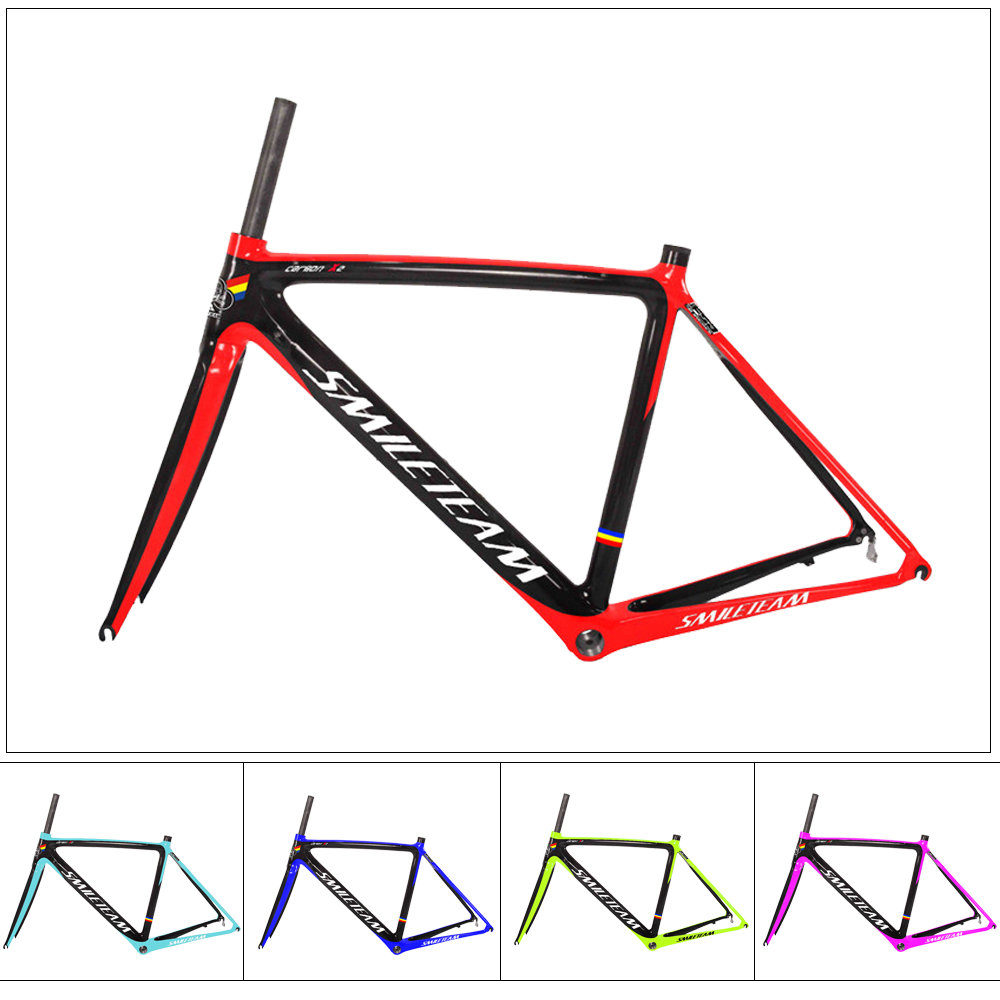 Smileteam Full Carbon Road Bicycle Frame Bike Racing Carbon Frames with Fork Road bike Frame 2 Year Warranty t700 full carbon road bicycle frame bb386 road bike 3k weave 54cm in stock 3 days delivery