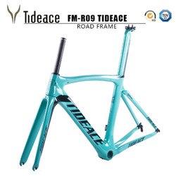 2017 Tideace carbon fietsframe 700C fiets carbon road frameset met vork en PF30BB accessoires V brake chinese carbon frames|carbon bike frame|bike framecarbon frame -