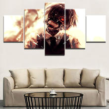 Modern Painting Canvas HD Print Anime Tokyo Ghoul Poster Wall Art Home Decor 5 Panels Ken Kaneki Modular Picture For Living Room