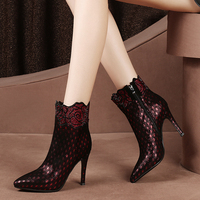 Luxury Genuine Leather Rhinestone Rose Women Boots 2018 Designer Stiletto High Heels Ankle Boots Plus Size Botines Zapatos Mujer