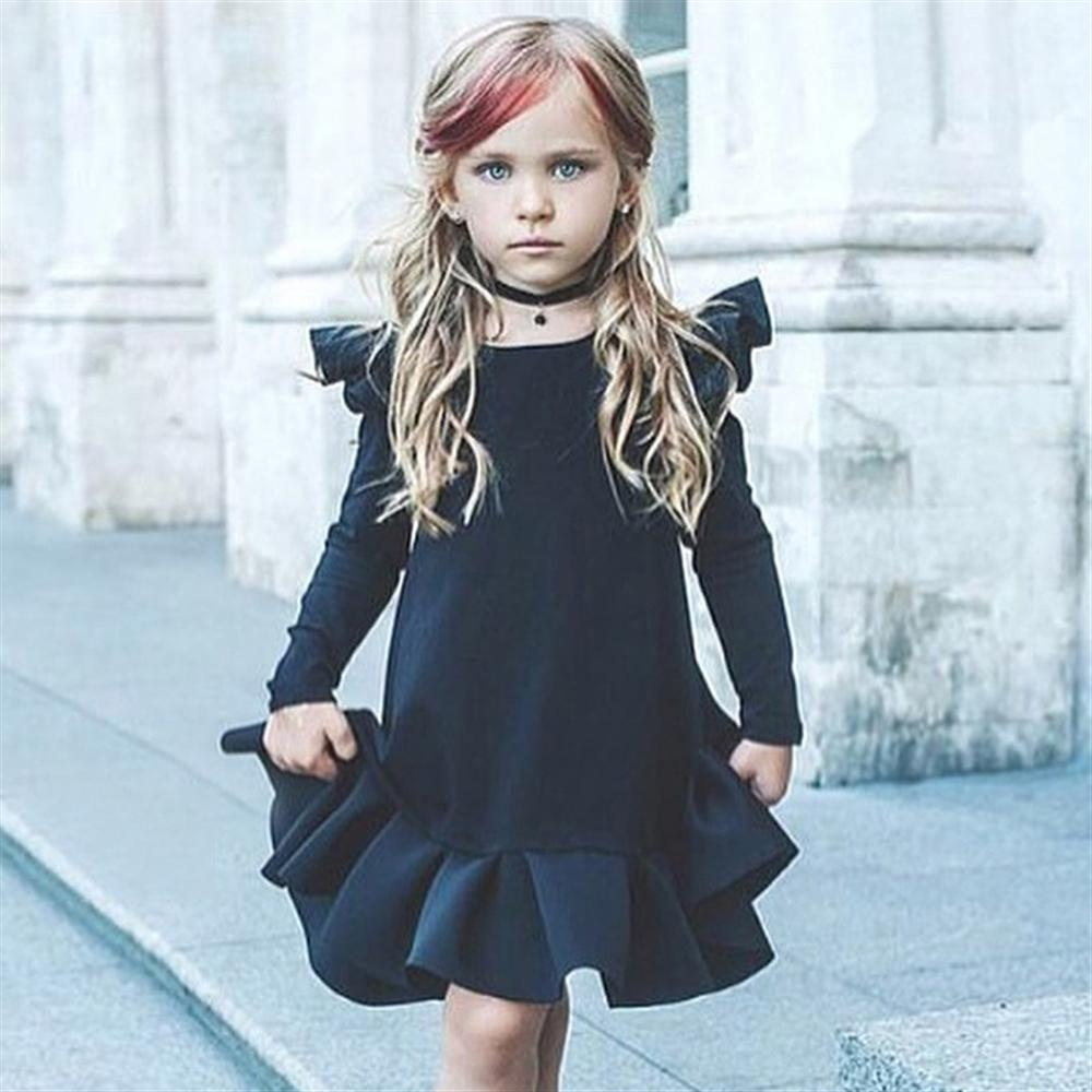 1 2 3 4 5 Year Girls Long Sleeve Dress 2018 New Casual Solid Child Princess Clothing Spring Autumn Kids Dresses for Girl spring winter girls dress 2018 casual long sleeves lace mesh patchwork kids dresses for girl new year clothing princess dress