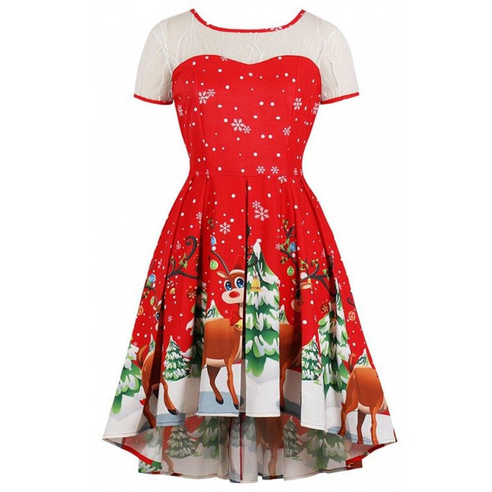 Feitong Dresses Womens Vintage Christmas Elk Printed Dress Ladies Short Sleeve Dress Xmas Dress vestidos invierno